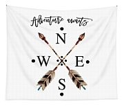 Adventure Waits Typography Arrows Compass Cardinal Directions Tapestry