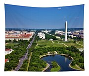 Aerial View Of The National Mall And Washington Monument Tapestry