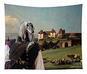 Afghan Hound-falconer And Castle Canvas Fine Art Print Tapestry