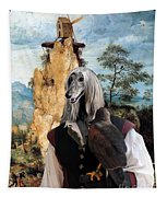 Afghan Hound-falconer And Windmill Canvas Fine Art Print Tapestry