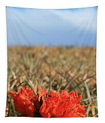 African Tulip Blossom Over Pineapple Field Aloha Makawao Tapestry