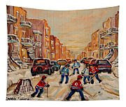 After School Hockey Game Tapestry