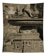 Aged And Worn Swan Statues On Rustic Cast Fountain Tapestry