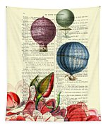 Hot Air Balloons Above Flower Field Tapestry