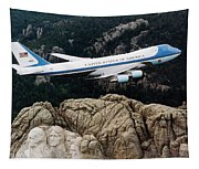 Air Force One Flying Over Mount Rushmore Tapestry