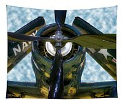 Airplane Propeller And Engine Navy Tapestry
