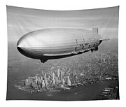 Airship Flying Over New York City Tapestry