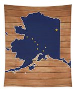 Alaska Map And Flag On Wood Tapestry