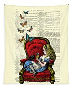 Alice In Wonderland Playing With Cute Cat And Butterflies Tapestry