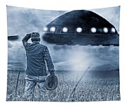 Alien Invasion Cyberpunk Version Tapestry