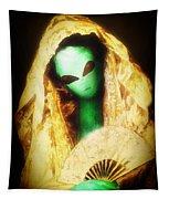 Alien Wearing Lace Mantilla Tapestry