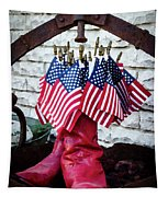 All American Flag And Red Boots - Painterly Tapestry