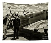 Allied Pilots Taking Stock Tapestry