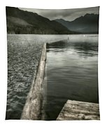 Along The Washington Coast - Dock, Breakwater, And Mountains Tapestry