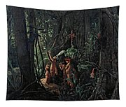 Amazonian Indians Worshiping The Sun God Tapestry