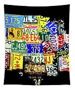 Us License Plate Map Tapestry by Miles Whittingham