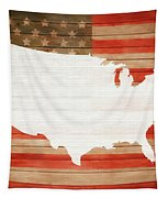 America Rustic Map On Wood Tapestry