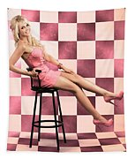 American Culture Pin Up Girl Inside 60s Retro Diner Tapestry