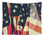 American Flags Painted Square Format Tapestry