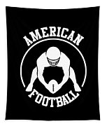 American Football Player With Ball And Helmet Tapestry