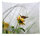 American Lady Butterfly Balancing By The Sea  Tapestry