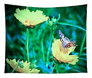 American Lady On Coreopsis Tapestry