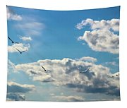American White Pelicans Flying Tapestry