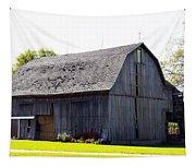 Amish Barn With Gambrel Roof And Hay Bales Indiana Usa Tapestry