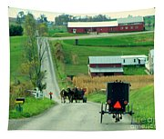 Amish Horse And Buggy Farm Tapestry