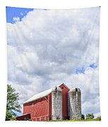 Amish Red Barn And Silos Tapestry