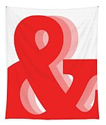 Ampersand - Red - And Symbol - Minimalist Print Tapestry