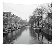 Amsterdam Canal Black And White 2 Tapestry