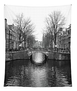 Amsterdam Canal Bridge Black And White Tapestry
