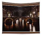 Amsterdam - Night Life L B With Decorative Ornate Printed Frame. Tapestry