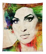 Amy Winehouse Colorful Portrait Tapestry
