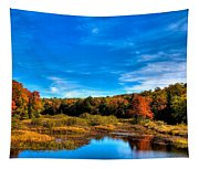 An Autumn Day At The Green Bridge Tapestry