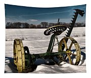 An Old Mower In The Snow Tapestry