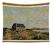 An Old Scottish Cottage Overlooking A Loch  L A S  With Decorative Ornate Printed Frame. Tapestry