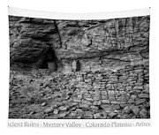 Ancient Ruins Mystery Valley Colorado Plateau Arizona 02 Bw Text Tapestry