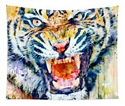 Angry Tiger Watercolor Close-up Tapestry