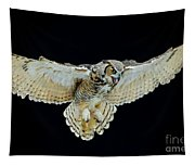 Animal - Bird - Great Horned Owl Wings Spread Tapestry