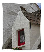 Animal Statue On The Dormer Roof Of A House In Bruges Belgium Tapestry
