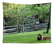 Annie In Her Yard Tapestry