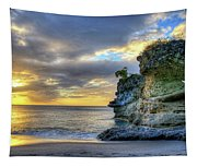 Anse Mamin Rock Formation At Sunset Saint Lucia Caribbean Sunset Tapestry