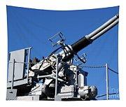 Anti Aircraft Turret Defense Guns On A Navy Ship Tapestry