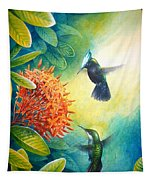 Antillean Crested Hummingbirds And Ixora Tapestry
