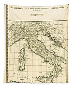 Antique Map Of Italy Tapestry