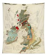 Antique Maps - Old Cartographic Maps - Antique Geological Map Of The British Islands Tapestry