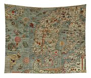 Antique Maps - Old Cartographic Maps - Antique Map Of Scandinavia In Latin, 1539 Tapestry