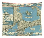 Antique Maps - Old Cartographic Maps - Antique Map Of Cape Cod, Massachusetts, 1945 Tapestry